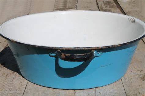 washing dishes in bathtub old antique blue white enamelware dish pan wash tub or primitive sink basin