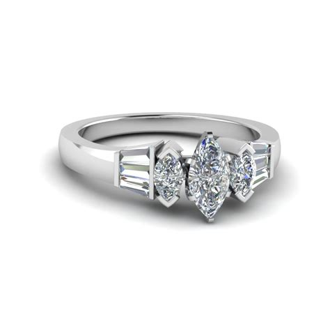 Marquise Engagement Ring by Baguette Bar And Marquise Engagement Ring In 14k