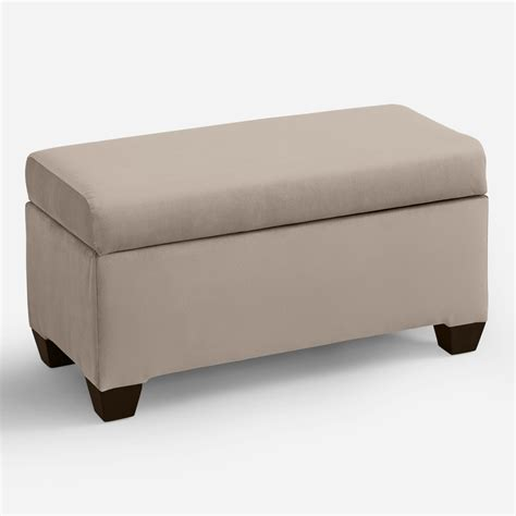 upholstered storage bench velvet pembroke upholstered storage bench world market