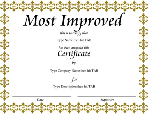 Most Improved Certificate Template award certificate templates