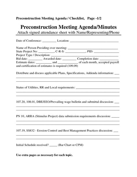 pre construction meeting agenda template construction meeting agenda template 2 best agenda templates