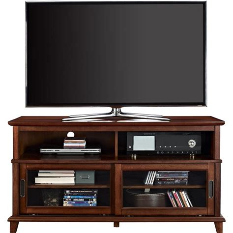 Glass Door Entertainment Center Altra Deacon Cherry Tv Console With Sliding Glass Doors Overstock Shopping Great
