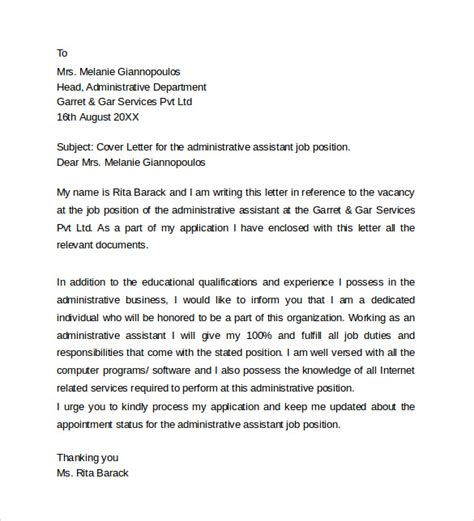 cover letter for admin position sle administrative assistant cover letter template 8