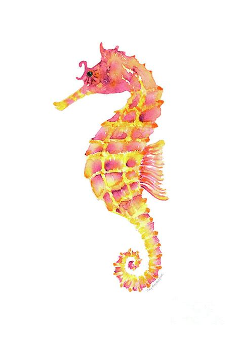 Whimsical Home Decor by Pink Yellow Seahorse Painting By Amy Kirkpatrick