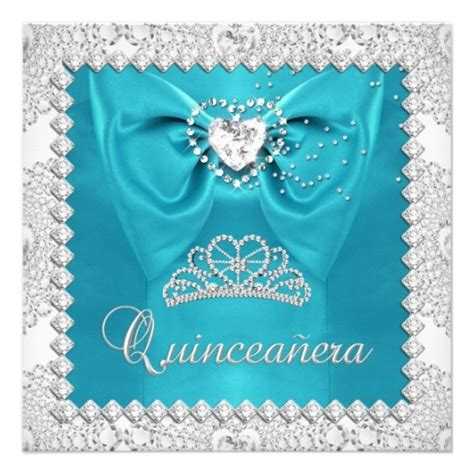 cinderella themed quinceanera invitations teal silver white quinceanera 15th birthday party card