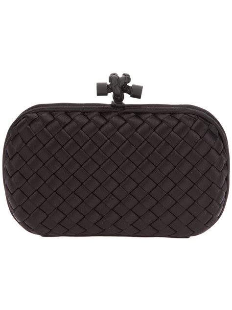 Bottega Veneta Intrec Capretto Knot Clutch In Black by Bottega Veneta The Knot Intrecciato Clutch In Black Lyst