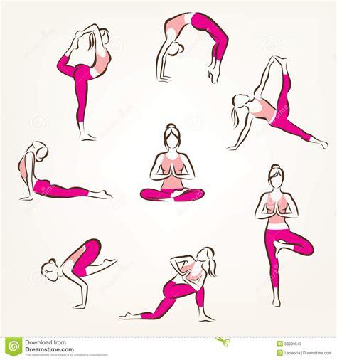 Yoga Plakat Kostenlos by Set Of Yoga And Pilates Poses Symbols Stock Vector