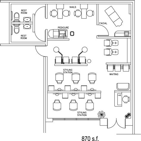 floor plan of a salon beauty salon floor plan design layout 870 square foot
