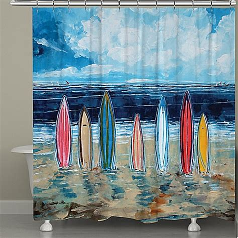 surfboard shower curtain laural home 174 surfboards shower curtain bed bath beyond