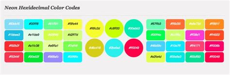 neon color codes fluor neon hexadecimal colors trend css hex color