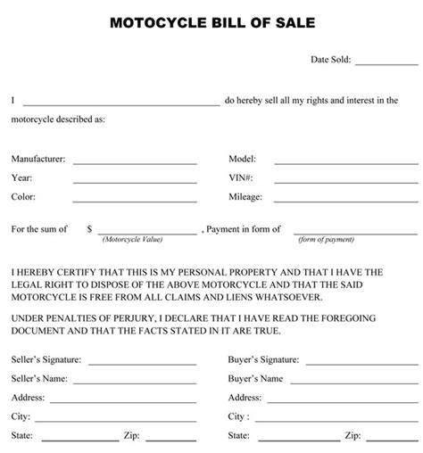 Free Printable Motorcycle Bill Of Sale Form Generic Motorcycle Bill Of Sale Template