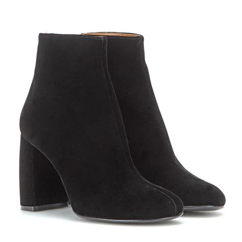 stella mccartney boots lyst stella mccartney velvet ankle boots in black