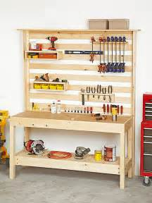 tool bench organization workbench with wall storage woodworking plan two easy to