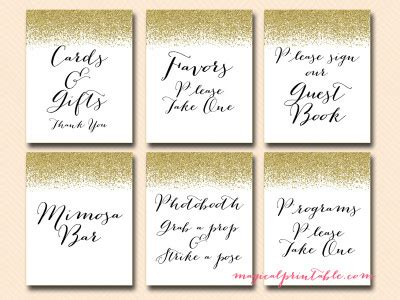 wedding signs, bridal shower signs, baby shower signs