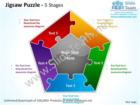 Jigsaw Puzzle 5 Stages Powerpoint Templates 0712 Powerpoint Jigsaw Puzzle Pieces Template