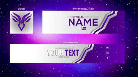 cool purple youtube banner template banner twitter