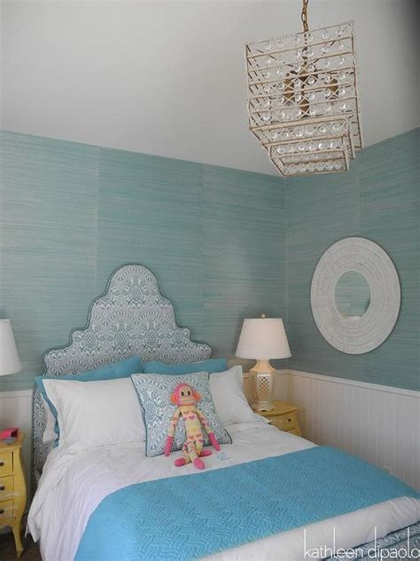 turquoise bedroom wallpaper turquoise grasscloth wallpaper contemporary girl s