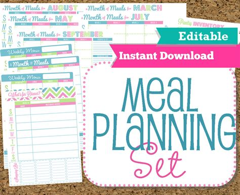 free editable printable meal planner editable and instant download menu planner printables meal