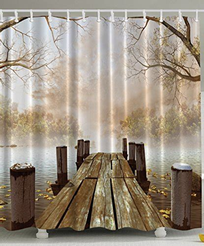 Rustic Country Shower Curtains 30 Decor Fall Wooden Bridge Seasons Day Gifts Lake House Nature Country
