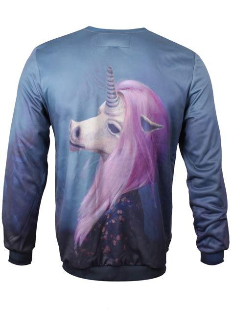 Sale 7365 Sweater Blue Unicorn mr gugu miss go creepy unicorn sweatshirt m 38 40