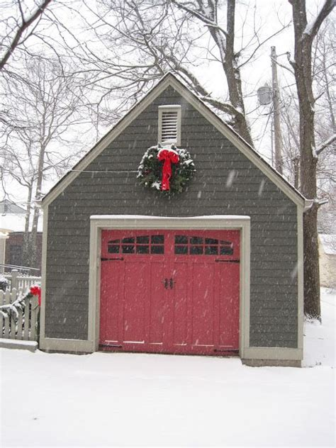 sheds with garage door red garage doors with white trim grey shingles and red door christmas pinterest