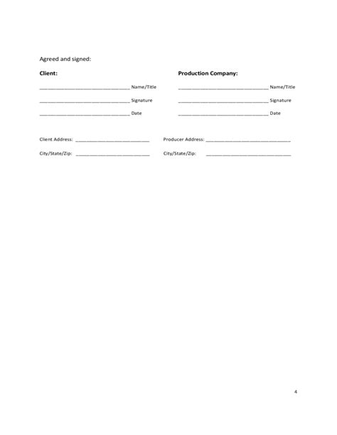 Standard Video Production Agreement Free Download Sound Production Contract Template