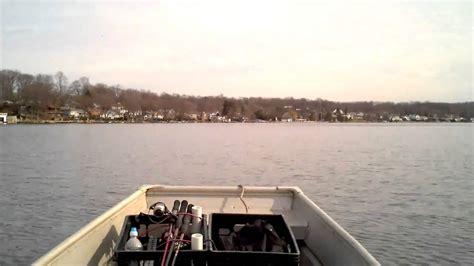sears gamefisher flat bottom boat 14 sears jon boat with 9 9 hp motor on lake hopatcong