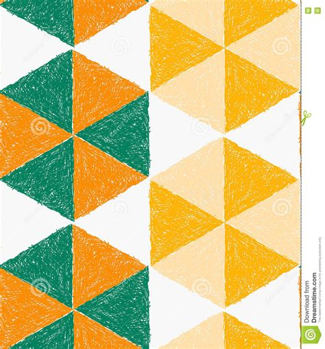 triangle hatch pattern pencil hatched orange green and yellow triangles forming