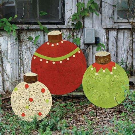 christmas ball yard stakes set of 3 traditional
