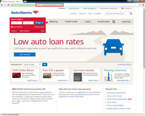 banking login bank of america banking