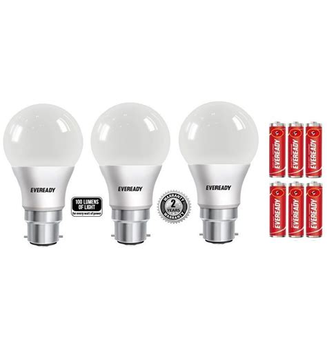 Eveready Led Light Bulbs Eveready 9w Pack Of 3 Led Bulbs Cool Day Light With Free 6 Battery Buy Eveready 9w Pack Of 3