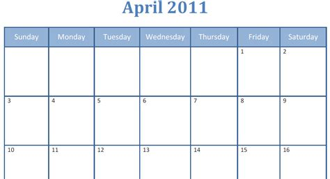 blank calendar template pdf printable blank pdf april 2011 monthly calendar