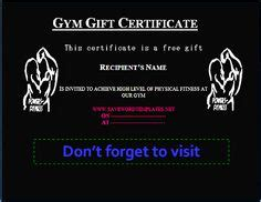 fitness gift card template birthday gift certificate templates gift certificate