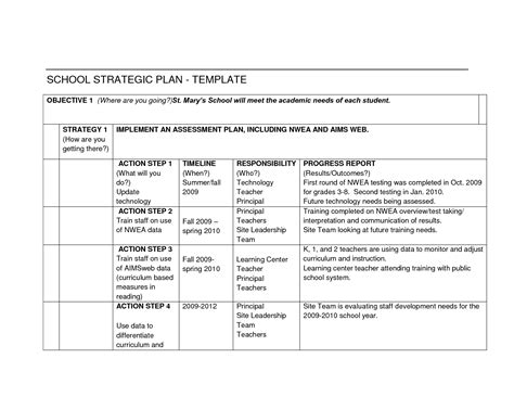 strategic plan template for schools catholic school strategic plans exles pictures to pin