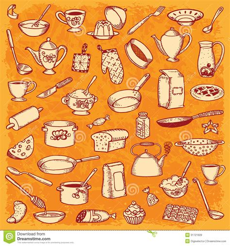 free doodle vector set kitchen and cooking doodle set stock vector image 31721609