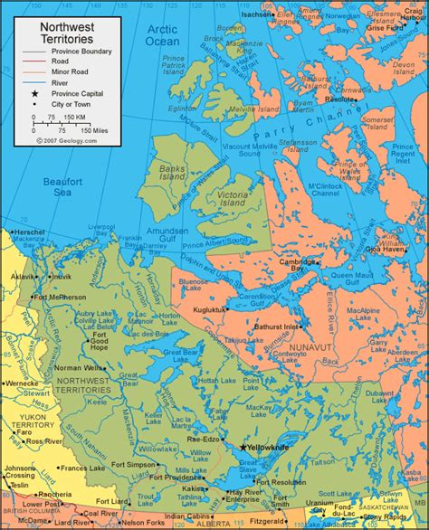map of the northwest territories in canada northwest territories map satellite image roads lakes