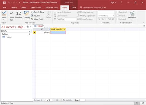 Microsoft Access access 2016 create a database