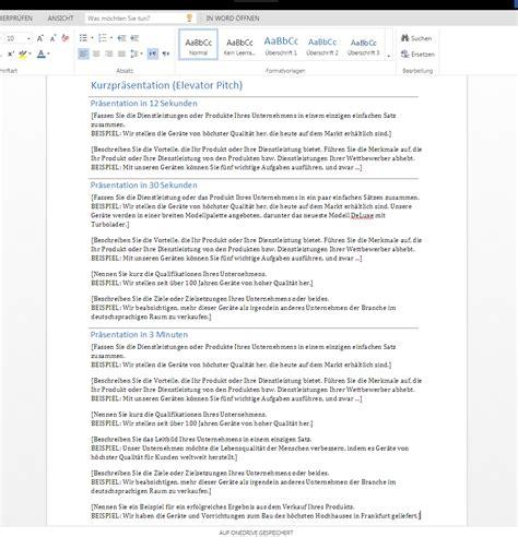 Firmenpräsentation Vorlagen Muster Kurzpr 228 Sentation Elevator Pitch Wordvorlage De