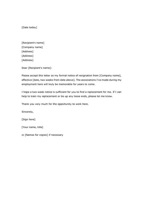 2 week notice letter two weeks template editable comany recent