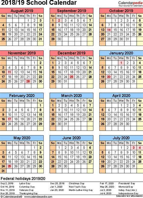 20 Year Calendar With Holidays School Calendars 2019 2020 As Free Printable Pdf Templates