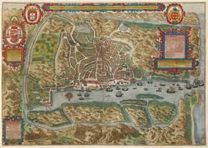antique map linschoten goa