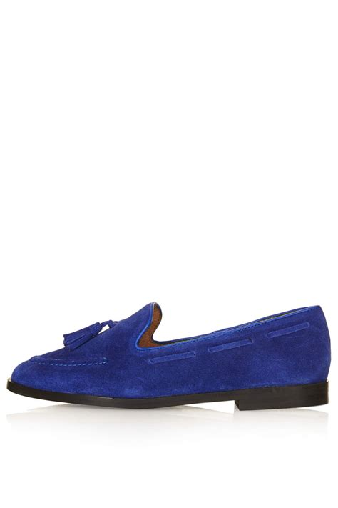 blue suede tassel loafers topshop suede tassel loafers in blue lyst