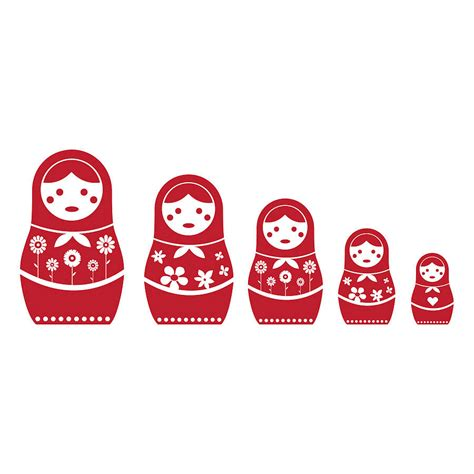 russian doll wall sticker set by spin collective