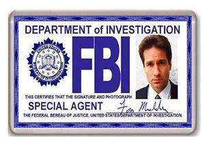 fbi business card templates fbi fox mulder id card x files fridge magnet iman nevera