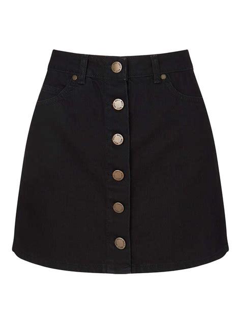 black button through denim mini skirt miss selfridge