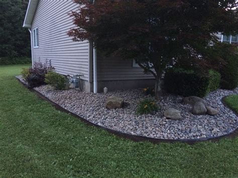 Garden Shingle Ideas Exterior White Wood Shingle Siding With River Rock Landscaping And Glass Window Plus Green