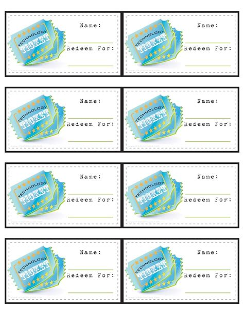 free printable job tickets technology tickets for my little people pinterest