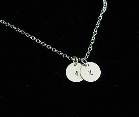 2 initial necklace for 18k white gold necklace