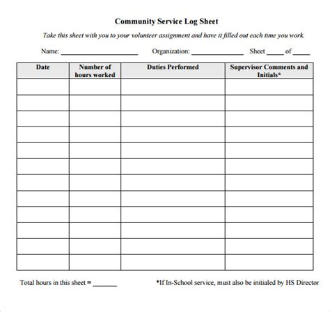community service hours certificate template sle log sheet 9 documents in pdf word