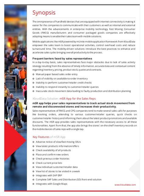 msr enterprise application for sales representatives